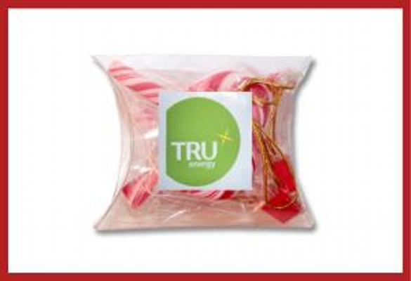 Picture of Christmas mini candy canes small pillow pack with label