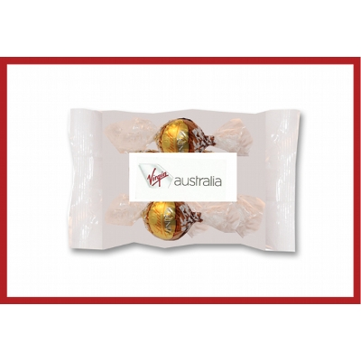 Picture of Cello bags of 2 Lindt Chocolates with label