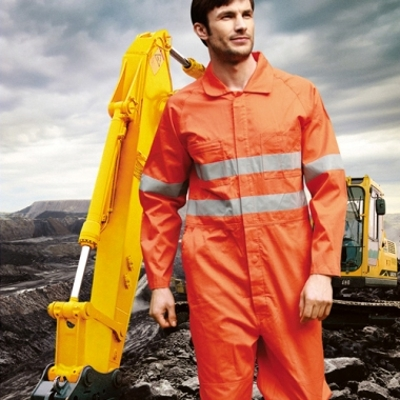 Picture of Unisex Adults Hi-Vis Cotton Drill Overalls With X Pattern Reflective Tape
