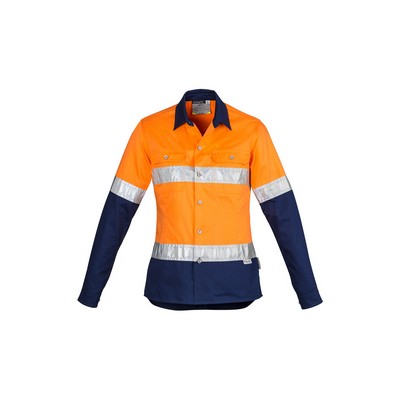 Picture of Womens Hi Vis Spliced Industrial Shirt - Hoop Taped