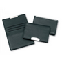 Premium Leather Card Holder with Credit Card Section & Silver Trim