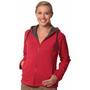 Ladies Full Zip Contrast Bonded Fleece Hoodie