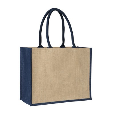 Picture of Contrast Blue Laminated Jute Supermarket Bag (Warehouse Stock)