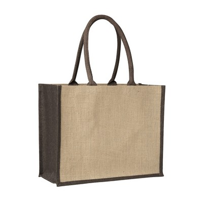 Picture of Contrast Brown Laminated Jute Supermarket Bag (Warehouse Stock)