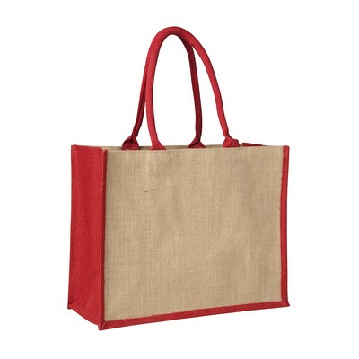 Picture of Contrast Red Laminated Jute Supermarket Bag (Warehouse Stock)