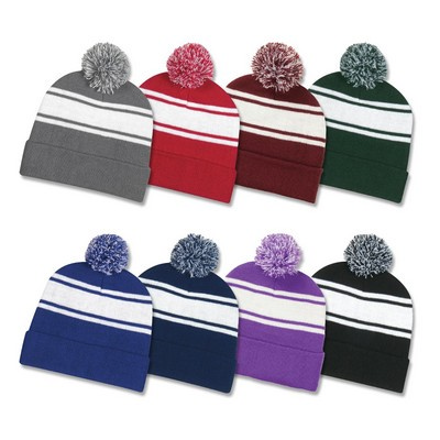 Picture of Two Tone Knit Pom Cuff Beanie