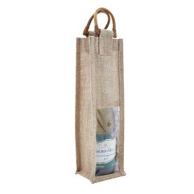 Picture of 1 Bottle Jute Bag with Cane Handle - Win