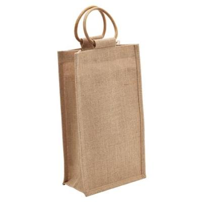 Picture of 2 Bottle Jute Bag with Cane Handle