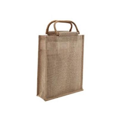 Picture of 3 Bottle Jute Bag with Cane Handle