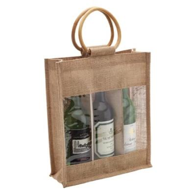 Picture of 3 Bottle Jute Bag with Cane Handle - Win