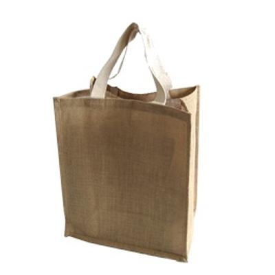 Picture of 6 Bottle Jute Bag with Cotton Web Handle