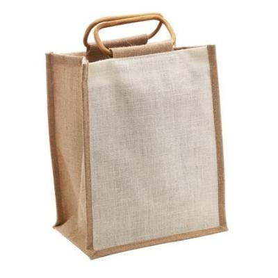 Picture of 6 Bottle Jute Bag with Cane Handle - Nat