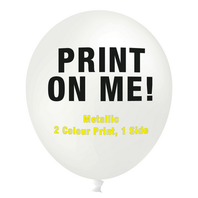 Picture of 30cm Metallic Balloon - Neck Down - WhiteBalloons