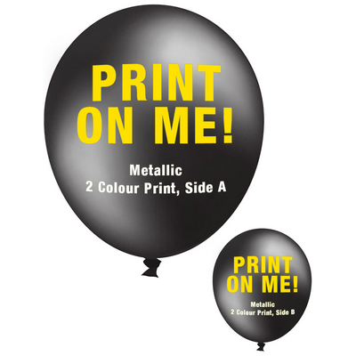 Picture of 30cm Metallic Balloon - Neck Down - BlackBalloons