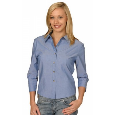 Picture of Ladies Wrinkle Free 3/4 Sleeve Chambray