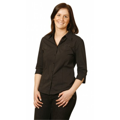Picture of Ladies Pin Stripe 3/4 Sleeve Shirt
