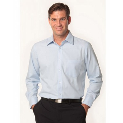 Picture of Mens Mini Herringbone Long Sleeve Shirt