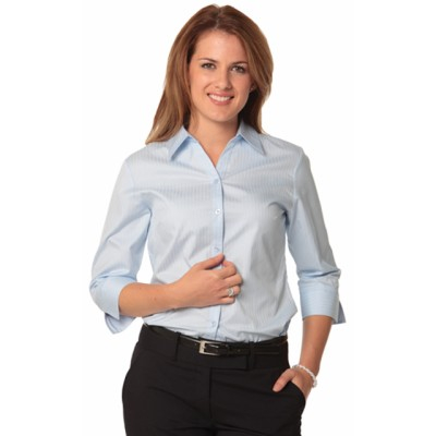 Picture of Ladies Self Stripe 3/4 Sleeve Shirt