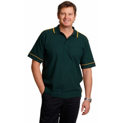 Picture of Mens Mini-Waffle Contrast Piping Polo