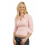 Ladies 3/4 Sleeve Length Rib Polo