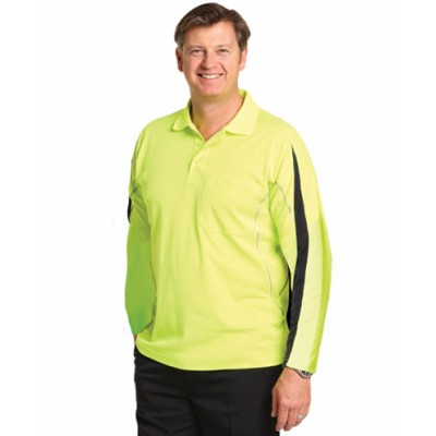 Picture of Mens TrueDry Hi-Vis Long Sleeve Polo wit