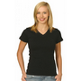 Ladies Cotton Stretch V-Neck Short Sleev