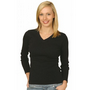 Ladies Cotton Stretch V-Neck Long Sleeve