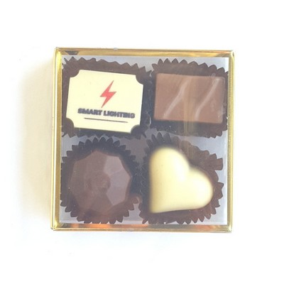 Picture of 4pc Belgian Chocolate Truffle Box - GOLD