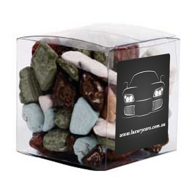 Picture of Small Clear Cube with Chocolate Rocks