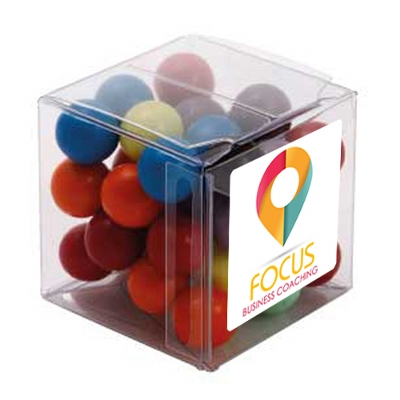 Picture of Big Clear Cube with Mixed Chocolate Bal