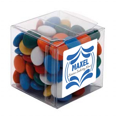 Picture of Big  Clear Cube with Mixed Chocolate GemsConfectionery