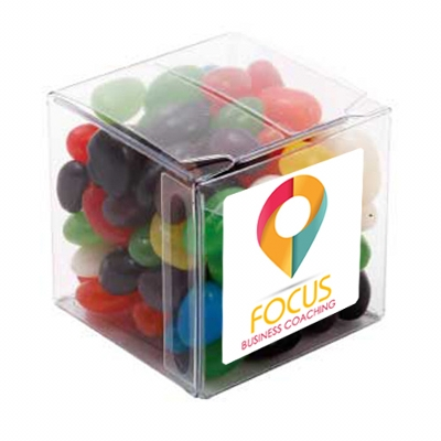 Picture of Big Clear Cube with Mixed Mini Jelly Be