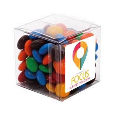 Picture of Big Clear Cube with M&M's