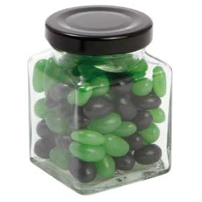 Picture of Small Square Jar with Mini Jelly Beans (