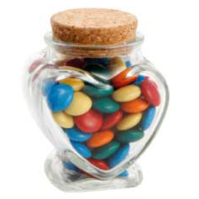 Picture of Glass Heart Jar with Mixed Chocolate GemsConfectionery