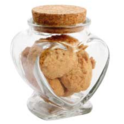 Picture of Glass Heart Jar with Mini Cookies