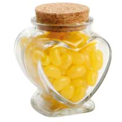 Picture of Glass Heart Jar with Mini Jelly Beans (C