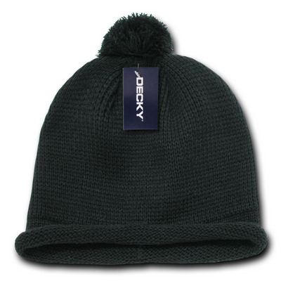 Picture of Solid RollUp Beanie w/PomPom