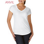 Anvil Women's Tri-Blend V-Neck Tee White