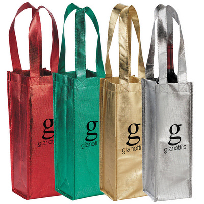Picture of Metallic Single Bottle Wine Tote