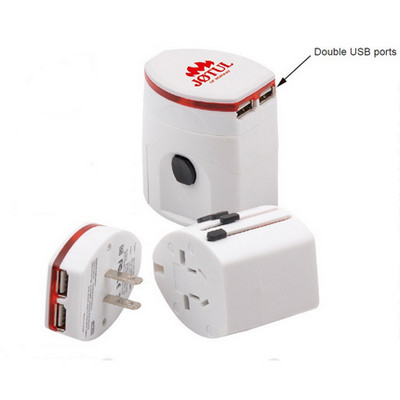 Picture of Light-up Universal Travel Adapter with USB