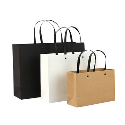 Picture of Small Crosswise Kraft Paper Bag with Knitted Handle(250 x 170 x 90mm)