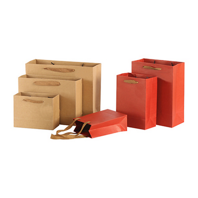 Picture of Large Crosswise Kraft Paper Bag with Fabric Flat Handle(320 x 250 x 110mm)