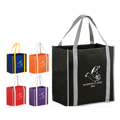 Picture of Two-tone Non-Woven Tote Bag with Poly Bo