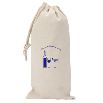 Picture of 295ml Canvas Drawstring Wine Gift Bag