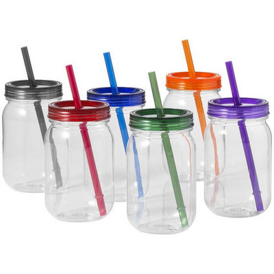 Picture of PLAD17 Mason Jar With Coloured Lid And S
