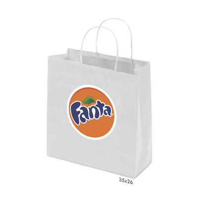 Picture of Kraft Paper Bag White Medium Includes Tw