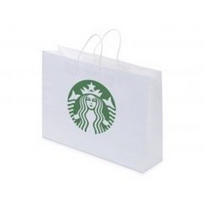 Picture of Kraft Paper Bag White Landscape Includes