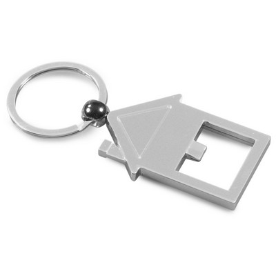 Picture of Shiny metal house-shaped keyring