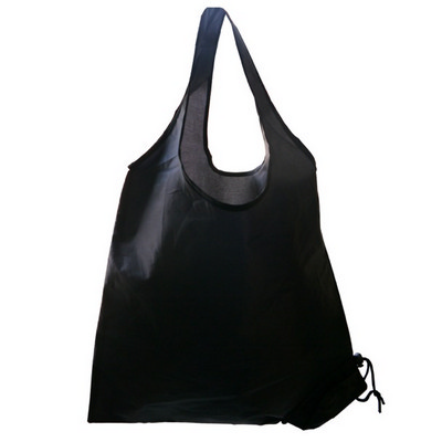 Picture of Folding Polyester Shopper Bag In Black.